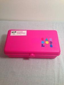 Vintage Neon Pink Mini Locker Caboodles - Jewelry Makeup Travel Craft ~mirror