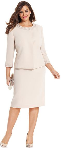 Tahari ASL Plus Size Collarless Beaded Skirt Suit