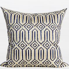 Blue Classical Geometry Pattern Embroidered Pillow
