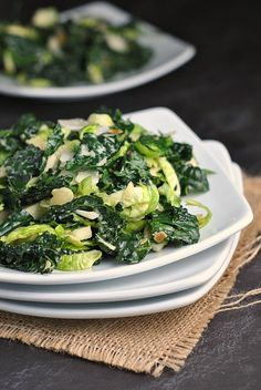 Massaged Kale and Brussels Sprouts Salad with Maple Tahini Dressing