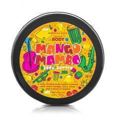 MANGO MAMBO BODY BUTTER#SJ10068 oz / 227 g This little mango number has got quite the moves, including moisturizing mango butter that can help boost collagen production, plus vitamin C for skin repair, fragranced with tropical fruit, mango, and just a pinch of pepper. Smooth liberally from neck to toes and allow to soak in. Apply daily for best results.  Fragrance: Sweet mango, spicy musk, and a pinch of pepper