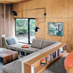 Would double as sleeping spots too! plywood walls and built-in seating in modern cabin / sfgirlbybay Plywood Interior, Home Interior, Interior Architecture, Plywood Walls, Plywood Furniture, Modern Interior, Plywood Bookcase, Interior Rugs, Built In Furniture