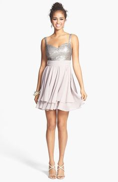 a. drea Sequin Bodice V-Back Dress (Juniors) available at #Nordstrom