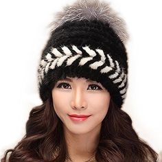 FURTALK Popular Women Winter Cap Knitted Mink Fur Hat New Style with Fox Fur Top Black *** Find out more about the great product at the image link.