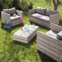 Pallets into garden furniture