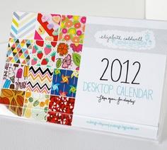 2012 Desktop Calendar - $20 #patterns #calendar #etsy