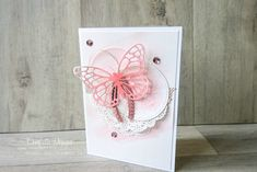 This pretty stitched framelits watercolour butterfly card was inspired by one made by Susan Wong in the grey, white and copper colour pallete. I needed something pink and girly for a friend so I changed the colours and used a pink butterfly. #handmadecard #confettidesign #stampinup #butterflycard #stitchedshapesframelits