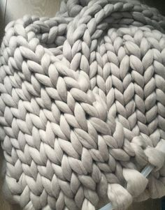 Super Chunky Blanket Wool throw Hand knit blanket Warm