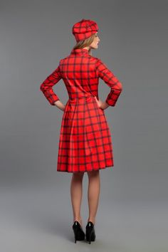 Red coat with unique print pattern designed by Vilorija.   Fabric:  Cotton sateen.  Print pattern is inspired by  classic timeless Scotish tartan, punk style,  and roses from the covers of old fairy tales books.