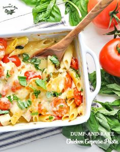 You don't even have to boil the pasta for this quick and healthy Dump-and-Bake Chicken Caprese Pasta! It's a 5-minute dinner that the family will love!