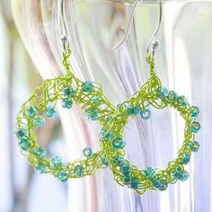 Chartreuse and Turquoise Wire Crochet Earrings by judy stalus, via Flickr