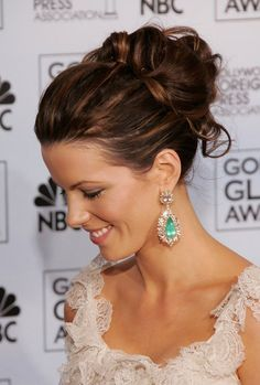 Check out pictures of actress Kate Beckinsale hair and hairstyles. Kate Beckinsale has long, dark hair. Twist Hairstyles, Pretty Hairstyles, Wedding Hairstyles, Wedding Updo, Casual Wedding, Bridal Hair Updo High, High Bun Wedding, Bridal Updo, Wedding Nails