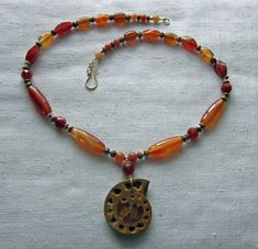 Rustic ammonite necklace