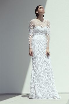 Mira Zwillinger sheer + allover embroidered lace wedding gown