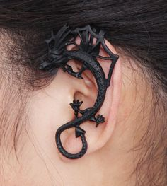 Gothic dragon ear cuff clip earrings