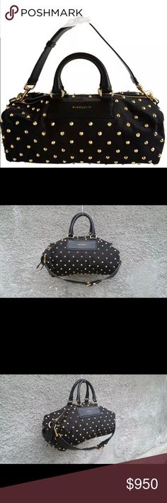 Givenchy duffle bag Givenchy Studded Duffle Women's Medium Black Leather and Nylon Bag Good Condition, see the photo Size : Strap Drop : 13 cm , Height : 22 cm , Width - 40 cm , Depth : 19 cm Gold Tone Hardware Detachable Shoulder Strap The bag is flat when empty One of the Golden Spikes was Lost and the Bag was taken to a Professional , he put a New One . Size is not Exactly the Same as the Old One , but it is not Something you can spot Easily . Nothing to be Worried About (see photo) 100%…
