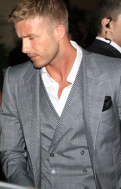 David Beckham | Grey Suit, love his hair style too.