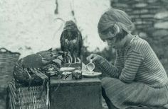 """Lobster Tea Party.  """"Anne and her family lived alson on an Island.  She enjoyed having tea time w/her friends the spiny lobster and  baby hawk""""-National Geographic, 1938"""