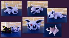 Took a break from my contest entry to make.. Espeon! I didn't type up a pattern for her because she's basically just Eevee with a different tail and extra ear pieces. (Pattern for Eevee...