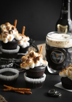 Guinness Cupcakes with Toasted Beer Marshmallow Meringue
