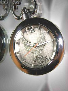 Harley Davidson Bulova Mens Pocket Watch. Raised antiqued pewter Harley-Davidson Eagle and Bar