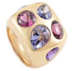 Festive cocktail ring, Chanel Amethyst Iolite Tourmaline Gold Cocktail Ring | From a unique collection of vintage cocktail rings at https://www.1stdibs.com/jewelry/rings/cocktail-rings/