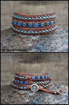 Beaded Leather Wrap Bracelet by Two Chicks Custom Designs Bead Loom Bracelets, Beaded Wrap Bracelets, Beaded Leather Wraps, Leather Cord, Loom Beading, Custom Design, Jewelry Making, Bronze, Beads