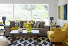 A sunny living room, featuring the Sophia sofa, Loden custom chair, Zinc coffee and end tables and Lynden rug