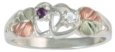 Amethyst and Diamond Double Hearts Ring, Sterling Silver, Green and Rose Gold Black Hills Gold Motif, Size ** Details can be found by clicking on the image. Sterling Silver Diamond Rings, Gold Rings, Black Hills Gold Jewelry, Silver Engagement Rings, Ring Engagement, Diamond Bands, Amethyst, Rings For Men, Diamond Necklaces