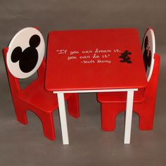 Mikey and Minnie Mouse Table and Chair Set for Kids. $198.00, via Etsy. or a DIY project!!