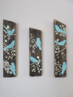 3 Relaimed Upcycled Country Custom Order Blue Birds Rustic Shabby Chic Wall Decor Sign Wood by aftr