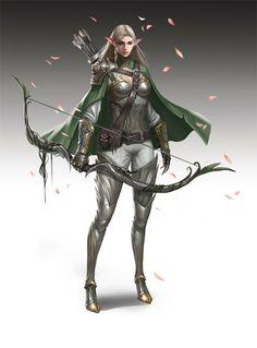 Archer - by Li Feng | #art #fantasy #archer #elf