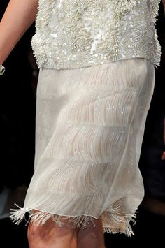 Fringe under Sheer Chiffon ,  Hidden Beauty under Sheer Skirt Trend for Spring Summer 2013.  Alberta Ferretti Spring Summer 2013.    #fashion #trends