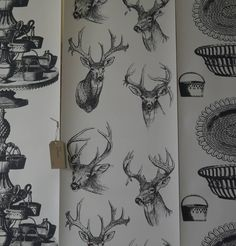 stags head wallpaper by sharon jane | notonthehighstreet.com