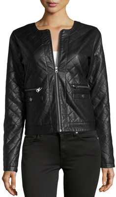 $99, Black Quilted Leather Bomber Jacket: Neiman Marcus Quilted Faux Leather Jacket Black. Sold by Last Call by Neiman Marcus. Click for more info: https://lookastic.com/women/shop_items/113642/redirect