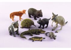 Schleich Australian animals:  Set includes: dingo , wombat , koala , echidna , Tasmanian devil , kangaroo , crocodile , platypus  and leadbeater's possum.