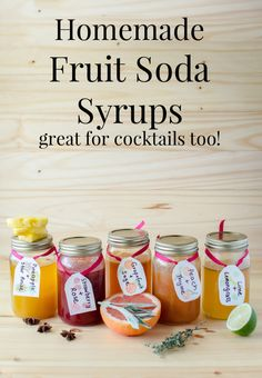 Homemade Soda Syrups - Delicious Fruit Syrups to make your own Sodas and cocktails! Choose from Grapefruit and Sage, Peach and Thyme, Strawberry and Rose, Lime and Lemongrass, and Pineapple and Star Anise Yummy Drinks, Healthy Drinks, Healthy Soda, Antipasto, Soda Stream Recipes, Soda Syrup, Pineapple Sage, Homemade Syrup, Soda Recipe