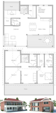 Small Home Plan with large windows. Three bedrooms. Floor Plans from ConceptHome.com