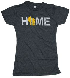 Ladies, with a Green Bay twist on our signature Wisconsin HOME design, you can have a cute tee to support your home and home team. Product Details - 65% polyester and 35% ring-spun cotton - Double-nee