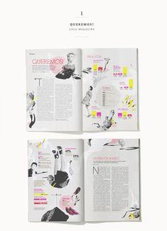 La maquetación de esta revista es atrevida y dinámica, además los colores encajan a la perfección