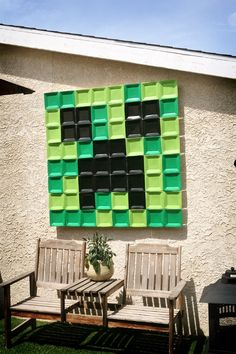 Giant Sign made out of Paper Plates! Minecraft Birthday Party Ideas