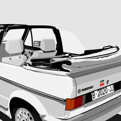 """Illustration of a white VW Golf Cabrio with Pachá sticker. From the series """"Cars & Stickers"""" by Gonzalo Sainz. Vw Golf Cabrio, Vw Mk1, Freelance Graphic Design, Future Car, Car Stickers, Dream Cars, Illustrations, Wall, Decor"""