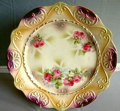 RS Germany Plate with Iridescent Finish - Schlegelmilch Family. The plate dates c. 1912-45.