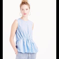 """J.Crew Cinched Tank Top NWT Cinched tank in """"heather steel indigo"""" is very figure flattering! Cotton poplin front, cotton jersey back with back button closure. Pull over style. Great under the Regent blazer in linen, or wool for Fall! No trades. J. Crew Tops Tank Tops"""