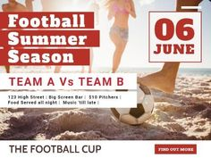 A modern Football post template with an image on the beach in the background and white and red shapes and text.