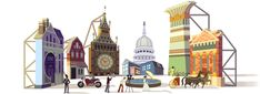 """Cinecittà's 77th Anniversary Celebrated by a Google Doodle Marking The Years since the Opening of Famous Italian Film Studios, dubbed """"The Dream Factory"""".  Founded in Rome, by Benito Mussolini in 1937 to Revive their Film Industry, with the Slogan => Il cinema è l'arma più forte"""" = """"Cinema is the most powerful weapon"""". They are the Largest Film Studios in Europe !!"""