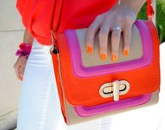 Love blogger Anna James' bright top, nails, bracelets and fluorescent bag! #neon #orange #pink