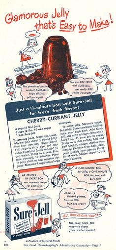 1948 Sure-Jell Cherry Currant Jelly ad. #vintage #1940s #food #ads