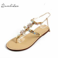 Rumbidzo 2017 Brand Shoes Woman Shoes Women Sandals Crystal Flat Heel  Women s Shoes Flip Flops Beach 2d2c9cabfba1
