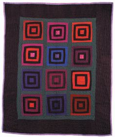 The concept of Amish quilts sounds old fashioned, but a lot of them are very graphic and modern looking, with vivid saturated colors. Of course, that's why I like them. Log Cabin, Bull's Eye Variat...